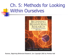 Ch. 5: Methods for Looking Within Ourselves