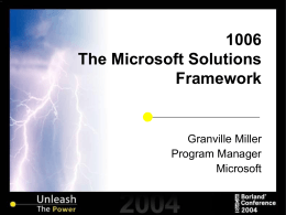 The Microsoft Solutions Framework