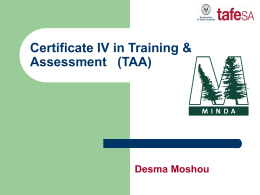 Certificate IV in Training & Assessment (TAA)