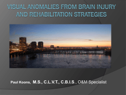 Visual Anomalies from Brain Injury and Rehabilitation