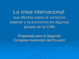 La crisis internacional: sus efectos sobre el comercio
