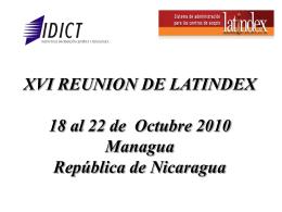 VII REUNION DE LATINDEX 25 AL 27 DE Noviembre 2001 …
