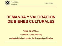 DEMANDA Y VALORACION DE BIENES CULTURALES