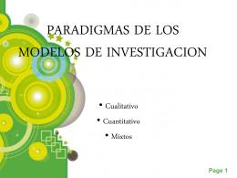 PARADIGMAS DE LOS MODELOS DE INVESTIGACION