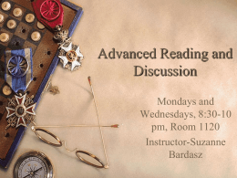 Advanced Reading and Discussion