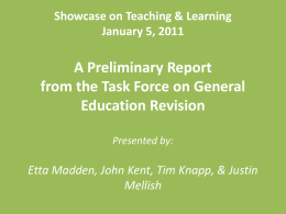 Showcase on Teaching & Learning January 5, 2011 A