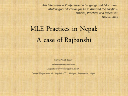 MLE Practices in Nepal: a case 0f Rajbanshi