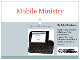 An Introduction To Mobile Ministry