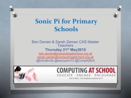 Sonic Pi for Primary Schools