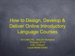 How to Design, Develop & Deliver Online Introductory