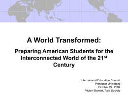 A World Transformed: Preparing American Students for …