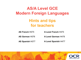 OCR A Level Modern Foreign Languages