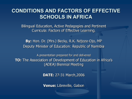 CONDITIONS AND FACTORS OF EFFECTIVE SCHOOLS IN …