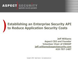 OWASP ESAPI Overview Presentation - owasp-esapi-java