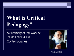 What is Critical Pedagogy?