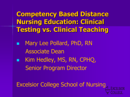 Competency Based Distance Nursing Education: Clinical