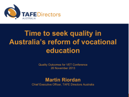 Welcome (translation) - TAFE Directors Australia