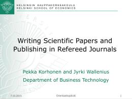 Tieteellinen julkaiseminen ja referee
