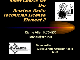 Short Course for the Amateur Radio Technician License