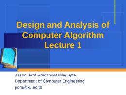 Design and Analysis of Computer Algorithm Lecture 1