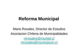 Reforma Municipal y Descentralizacion Fiscal