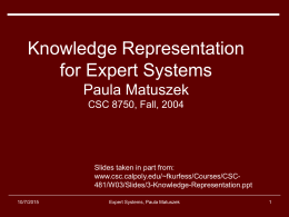 Intro to Expert Systems