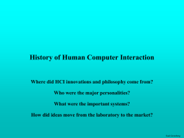 Historical foundations of HCI