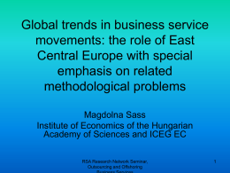 Changes in the Competitiveness in the Service Sector of