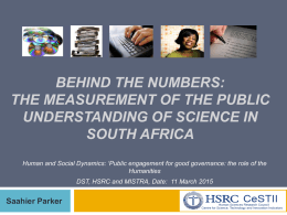 Behind the numbers: Science measurement and the public