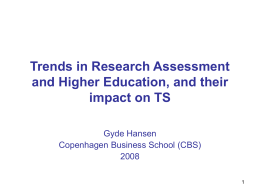 Recent trends in Research Assessment and Higher …