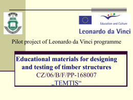 Leonardo da Vinci Pilot Project Educational materials for
