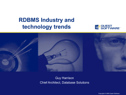 RDBMS Industry and technology trends