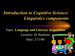 Introduction to Cognitive Science Linguistics components