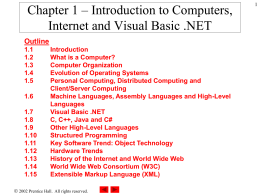 Chapter 1 – Introduction to Computers, Internet and …