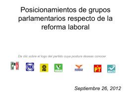 Posicionamientos de grupos parlamentarios respecto de la
