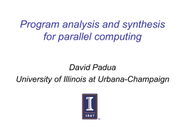 Program Analysis and Synthesis for Parallel Computing