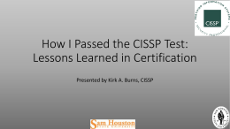 How I Passed the CISSP Test: Lessons Learned in Certification