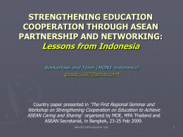 STRENGTHENING EDUCATION COOPERATION THROUGH …