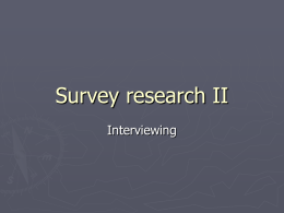 Survey research II - Southeast Missouri State University