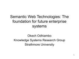 Semantic Web Technologies: The foundation for future