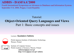 Object-Oriented Query Languages and Views