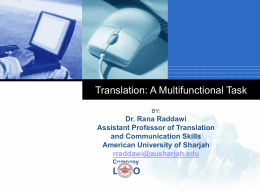 Translation:A Multifunctional Task