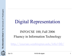 Digital Representation - University of Washington