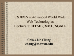 CS 898n - Lecture 5 - Wichita State University