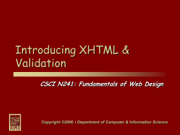 Introducing XHTML & Validation