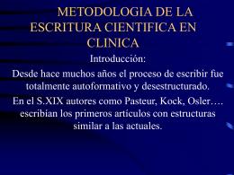 METODOLOGIA DE LA ESCRITURA CIENTIFICA EN CLINICA