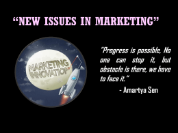 NEW ISSUES IN MARKETING""