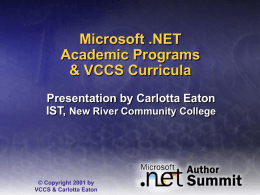 VCCS Microsoft NET Project - New River Community College