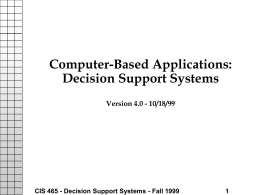 Computer-Based Applications: Decision Support Systems