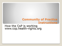 Community of Practice Instructions